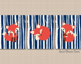 Fox Nursery Wall Art Navy Fox Nursery Wall Art Woodland Nursery Wall Art Fox Nursery Wall Decor Fox Baby Room Navy Orange-UNFRAMED 3 C163