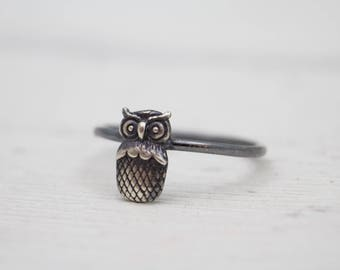 Owl Ring - Sterling Silver Owl Ring - Animal Ring - Stacker Ring - Oxidized Silver Ring - Owl Jewelry - Boho Ring