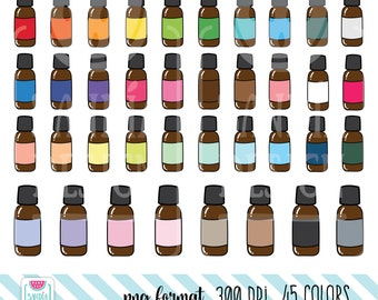 45 Doodle Essential Oil Clipart. Personal and comercial use.