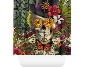 New Orleans Sugar Skull Shower Curtain - Botanical Skull Bath Curtain - Dia De Los Muertos Bathroom Decor - Baron in Bloom