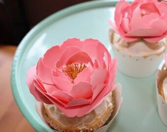 Premium Pink Peony Cupcake Topper and Liner (6 per order)