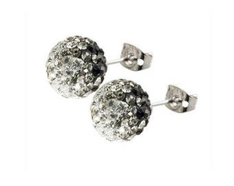 Pair 8mm /10mm Handmade Crystal Bead Pave Disco Ball Silver Earrings Studs --Black & White