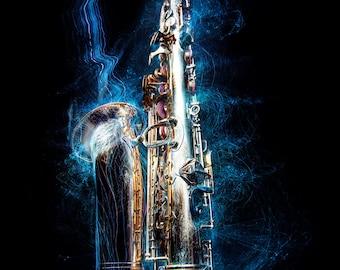 Saxophone light painting
