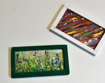 Dollhouse miniature paintings, modern art, abstract art, small art