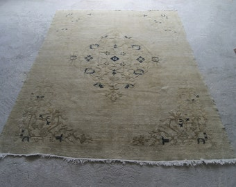 6'10''x9'4'' Large Area Rug , Turkish Oushak Rug , Distressed Carpet , Vintage Rug , Anatolian 1940s