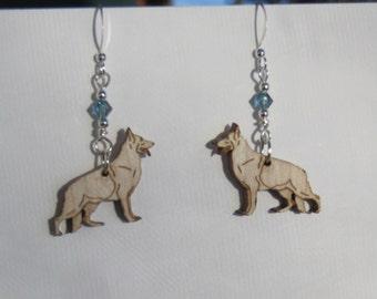 German Shepherd Earrings with Swarovski Crystal