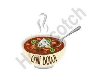 Chili Bowl - Machine Embroidery Design, Chili, Bowl