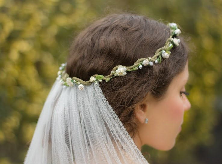 Boho veil flower crown with veil wedding veil flower halo