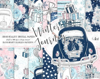 Winter digital paper, New Year paper pack, christmas papers, travel backgrounds, winter scene papers, glitter papers, planner stickers