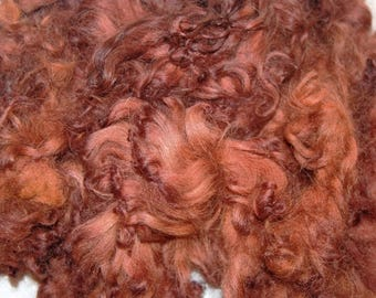 Karakul Sheep Wool Locks for Spinning Felting and Doll Hair, Doll Wig, Hand Dyed shades of Chestnut Brown 1 oz.