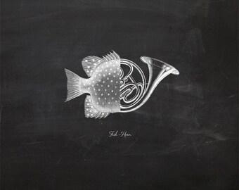 Vintage Fish Horn on Chalkboard Print 8x10 P129