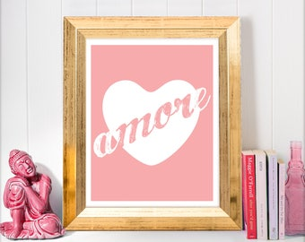printable art amore love heart, wall art for women, art for girls bedroom decor, instant download teenagers typography, glam glamorous print