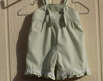 Pastel Green Dobby Cotton, Ruffled, Knot Strap Rompers, Size Small Newborn