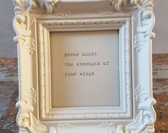 Mini framed quote 'Wings'