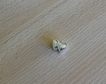 two hearts together with a large hole Charm European beads fits pandora Bracelets Necklaces Pendants.