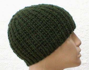 Olive army green beanie hat, skull cap, ribbed hat, toque, green hat, winter hat, mens womens knit hat, biker hiking hat, ski toboggan, V2