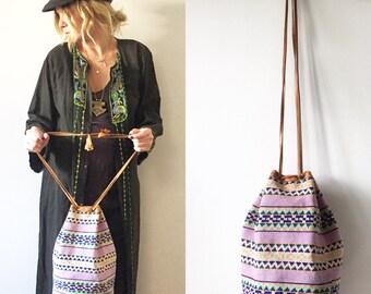 Vintage Ethnic Woven Bucket Bag, Leather Textile Bag , Crochet Leather Bag