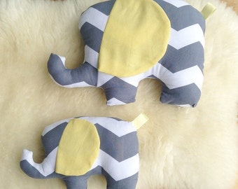 Chevron Elephant Stuffies, Gender Neutral Elephant Plush Toy, Elephant Nursery Decor, Baby Shower Gift