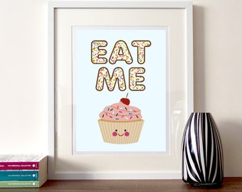 Cupcake Illustration, kitchen art quote, cute cupcake, kitchen decor, cake illustration, cupcake print, cake poster Eat me, Bite me