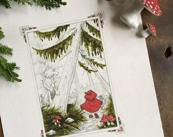 "Little Red Riding Hood 8x10"" Print"