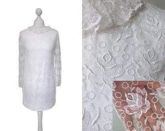 1960's Mini Dress - White Illusion Lace Dress - Retro Mod Bridal - 1960's Vintage Dress