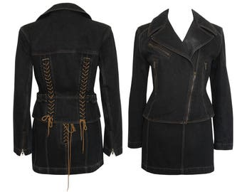 ALAIA Black Denim Moto Lace-Up Jacket & Skirt Set Azzedine Alaia 1980s 1990s Vintage Skirt Suit Size XS Gr. 34