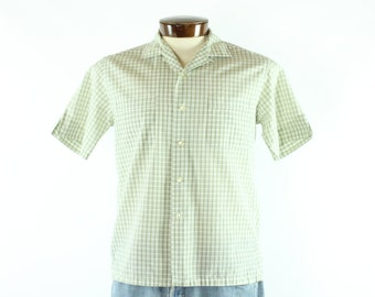 50s McGregor Button Down Shirt Short Sleeves Green White Plaid Cotton Vintage 1950s Mens Size Medium M Rockabilly Hipster