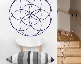 seed of life mandala vinyl Wall DECAL-flower Sacred geometry, sticker art, home decor