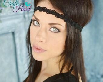 Black Boho Headband - Adult Headband - Bohemian Headband - Forehead Headband - Hippie Headband - Black Headband - Boho Headband  - Headbands
