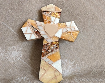 Handmade Beige Cross, Mosaic Cross, Beige Wall Cross, Coastal Wedding Gift, Wall Cross with Heart, Baptism Wall Cross, Cross Wall Decor