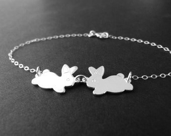 Bunny bracelet, two bunnies, cute animal jewelry with sterling silver chain, customize it with initials