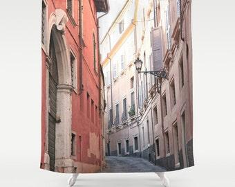 Italy Shower Curtain, Pink Shower Curtain, Verona, Italy, Girls Bathroom Decor, Fabric Shower Curtain, Italy Decor, Photo Shower Curtain
