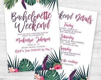 Tropical Palms Bachelorette Party Invitation