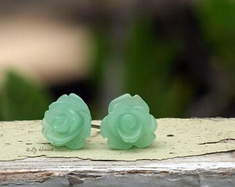Frost Mint Rose Stud Earrings, Choose Stainless Steel or Titanium Posts, Bridesmaid Gifts