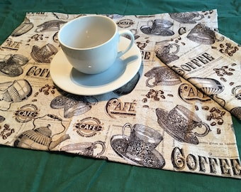 Coffee Cafe Cloth Napkins (1 Pair)