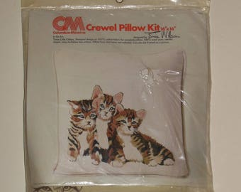 "Vintage Crewel Cat print Pillow Kit 16"" x 16"" Three Little Kittens 1976 CM Columbia Minerva designed by Erica Wilson"
