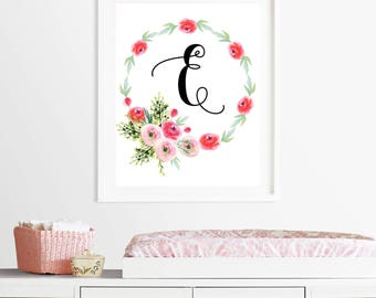 Monogram name printable, Nursery art print, pink nursery wall art, Nursery art decor, children's room decor, love art,  8X10 11x14