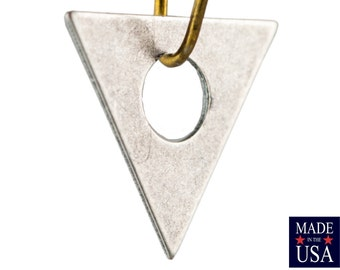 Center Cutout Silver Ox Flat Triangle Charms Drops 17mm (6) mtl479K