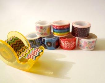 Set of 8 mini masking tape and dispenser - Scrapbook - embellishment (set C)