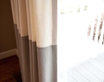 Custom Pleated Color Blocked Drapery Panels