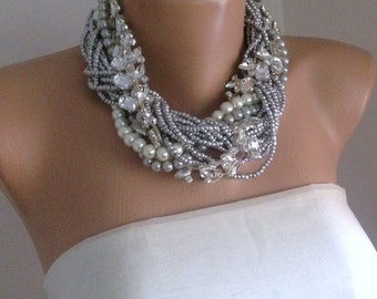 Pearl Statement Necklace, Vintage Inspired Silver Necklace, Wedding Choker Necklace, Rhinestone Statement Necklace, Bridal Wedding Necklace
