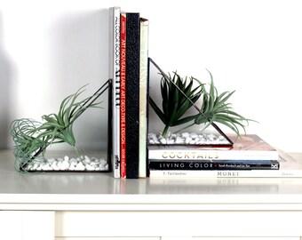 Geometric Triangular Bookend Terrariums- Stained Glass Decor - Home Decor