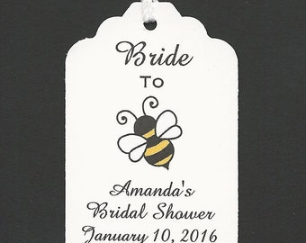 40 Bride to BEE Personalized Handmade Tags-Wedding Wish Tags-Honey jar tags- Bridal Shower Favor tags
