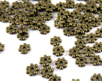 100 Daisy Bead Spacer Bead Antique Bronze 4mm LF and NF Heishi  - 100 pc - M7010-AB100