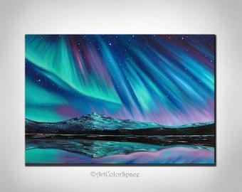 Northern lights art Large painting Aurora borealis Wall art Northern lights Painting on canvas Galaxy painting Night sky Iceland Art Glacier
