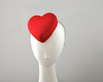 Red Heart Cocktail Hat Fascinator Mini Love Hearts Collection