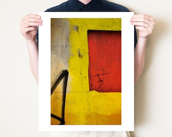 Urban abstract photography, graphic orange red & yellow minimalist art. New York City fine art photo. Photographic print. 5x7, 8x10 to 30x40