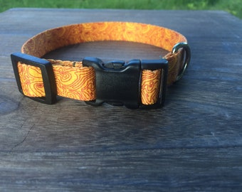 Dog Collar with Topographic Design. Orange Dog Collar for small and medium sized dogs. Hiking dog collar. Mountain dog collar.