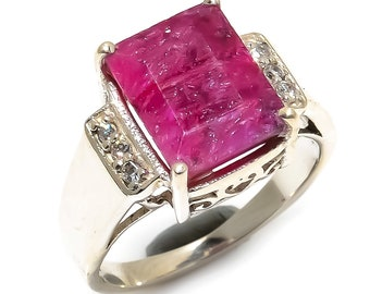 Natural Ruby Square Gemstone Ring 925 Sterling Silver R1104