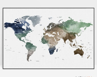 Large world map poster, world map art, travel map, watercolor, travel gift, travel decor, office decor, ArtPrintsVicky.